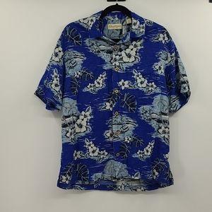 Caribbean pure silk blue Hawaiian shirt. Size m